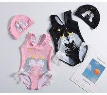 Maillot de bain une pièce pour filles, avec chapeau, motif licorne, pour enfants de 1 à 10 ans, vêtements de plage, nouvelle collection 2019, Suit-ST120