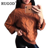 RUGOD Fashion Solid Turtleneck Cashmere Sweater Batwing Sleeve Women Sweaters And Pullovers Casual Thick Warm Pull