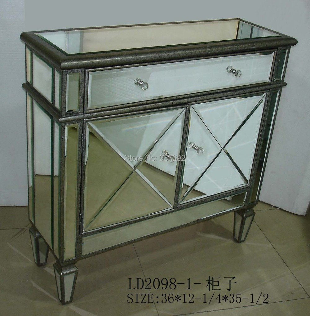 aw2860 mirrored cabinet living room chest console table with 2 doors