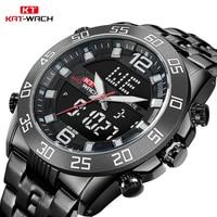 KAT WACH Man Watch 2018 5Bar Full Stainless Steel Dual Display Men's Watches Top Brand Luxury LED Display Watch Men