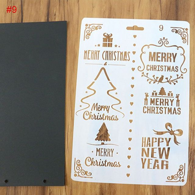 1pc diy christmas and happy new year painting template bullet journal stencil set xmas gift scrapbooking