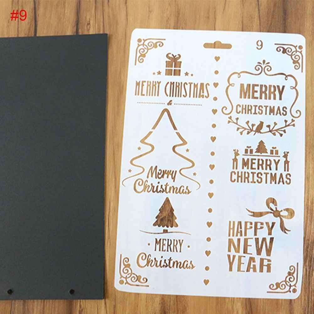 Diy クリスマスギフトスクラップブッキングカードハッピーニューイヤー絵画テンプレート ournal ステンシルセット