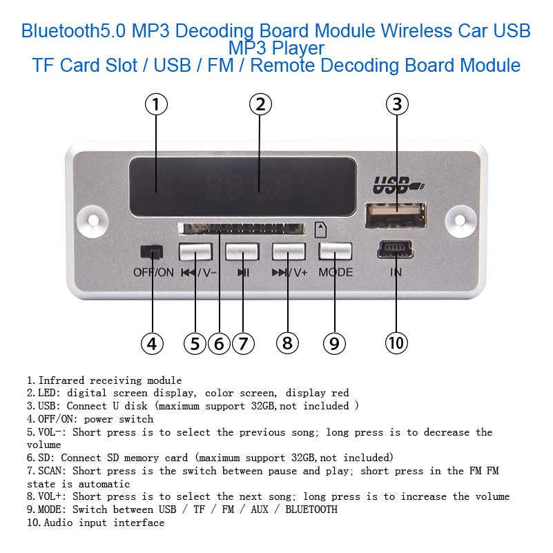 Car Audio MP3 Scheda di Decodifica WMA FLAC USB TF di FM Radio Modulo Senza Fili di Bluetooth 12V MP3 Player con Telecomando telecomando Per Auto
