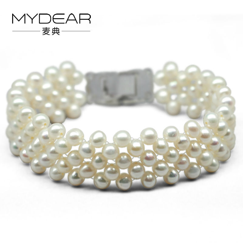MYDEAR Fine Pearl Jewelry Trendy Bracelet Natural 5-6mm Fresh Water Pearls Fine-costume-jewelry Charms Lot Women Strand Bracelet