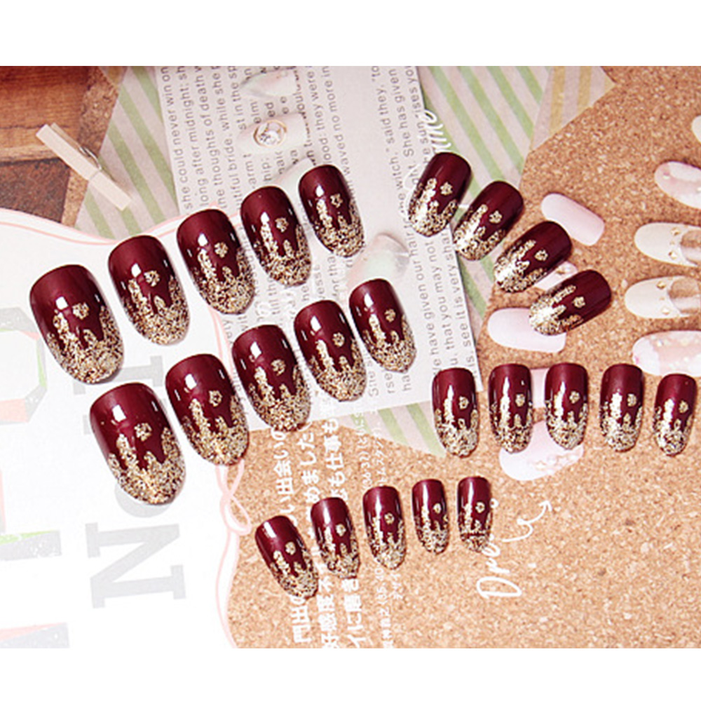 24pcs/Set Elegant Japan Wine Red False Nails Round Head Gold Wavy ...