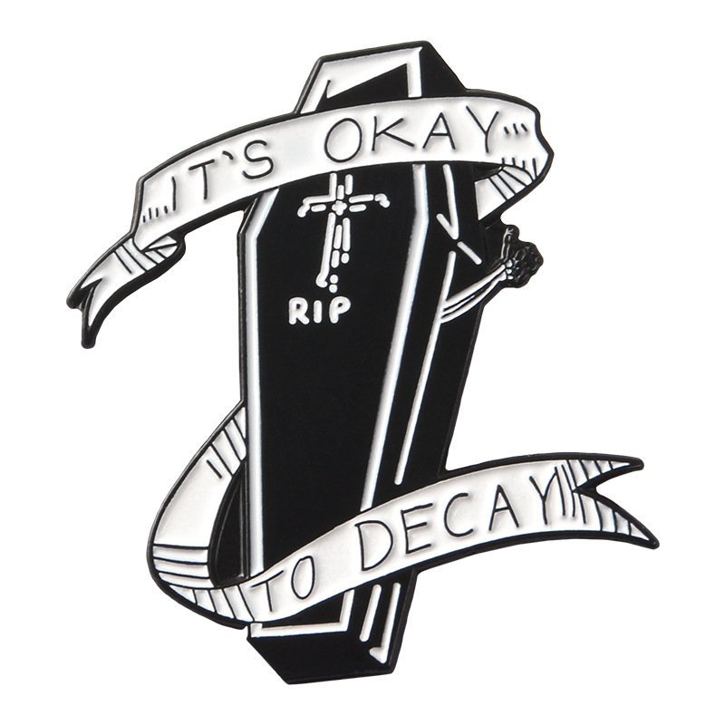 Punk Badges Letter IT IS OKAY TO DECAY Brooches For Women Coffin Pins Jewelry Enamel Pin Lapel Pin Backpack Bag Accessories Gift