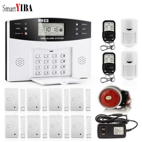 купить SmartYIBA GSM Home Alarm System Protection Alarm SMS Autodial LCD Home Security Alarm System онлайн