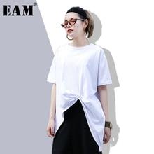 145215e837809  EAM  2018 New Autumn Summer Round Neck Short Sleeve White Knot Irregular  Hem Split