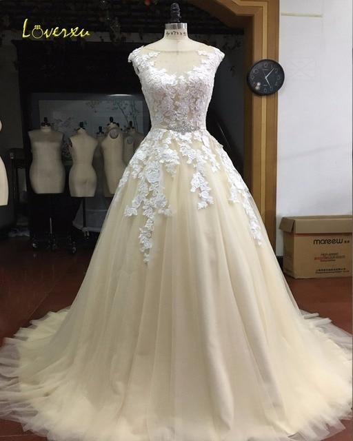 Loverxu Cap Sleeve Champagne Appliques A Line Lace Princess Wedding ...