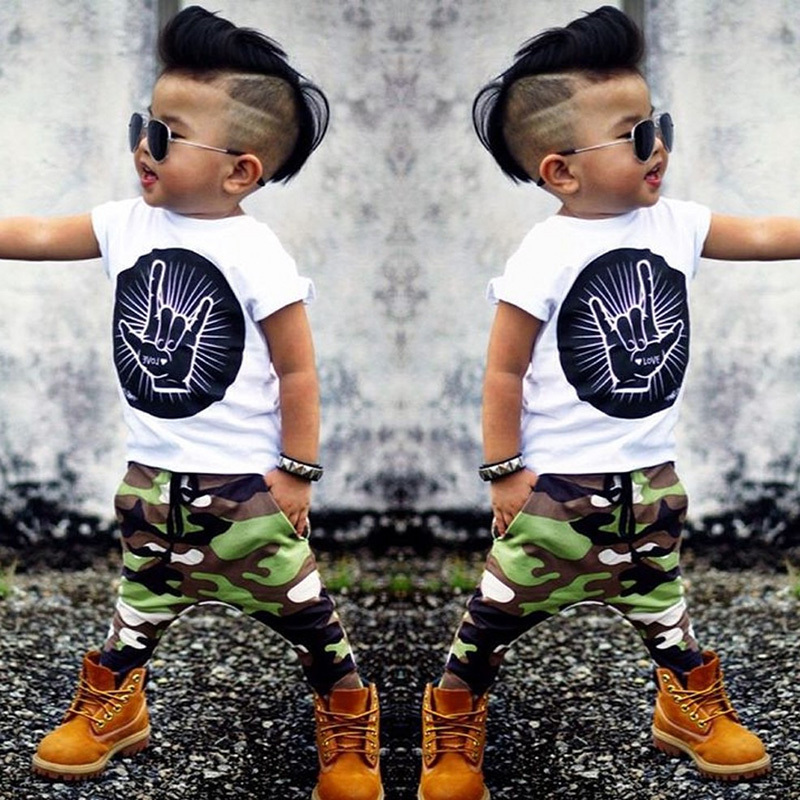 2018 New Style Summer Baby Clothing Set Boy Cotton Cartoon Short Sleeve T-shirt + Pants  ...