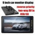 9 Дюймов цветной TFT LCD дисплей Монитор Автомобиля обратный приоритет с 2 Видеовхода обратный камера бесплатная доставка USB SD