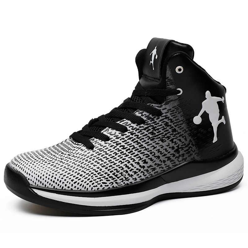 2351e387b58 ... Man High Top Jordan Basketball Shoes Men s Cushioning Basketball  Sneakers Non-slip Breathable Outdoor Sports ...