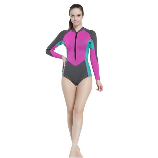 c8c380b762f0d 2018 Women Wetsuit One piece 2mm Neoprene Swimsuit Dive Surf Swim Suit  Swimwear Spearfishing Long sleeve