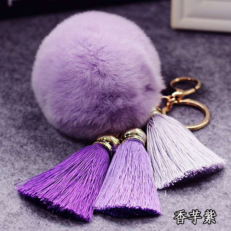 2018Fur <font><b>Pom</b></font> Keychains Fake Rabbit Fur Ball Key Chain Porte Clef <font><b>pom</b></font> De Fourrure Fluffy Bag Charms Bunny Keychain <font><b>Keyring</b></font> image