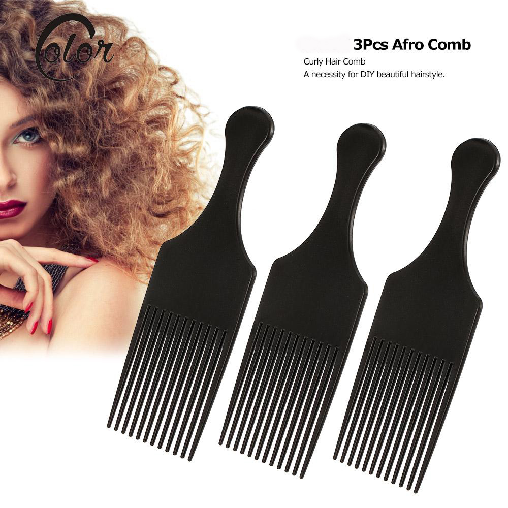 3Pcs Afro Hair Comb Hair Fork Comb Insert Hairdressing Curly Hair Brush Comb Hairbrush Styling Tool for Men & Women Black 1