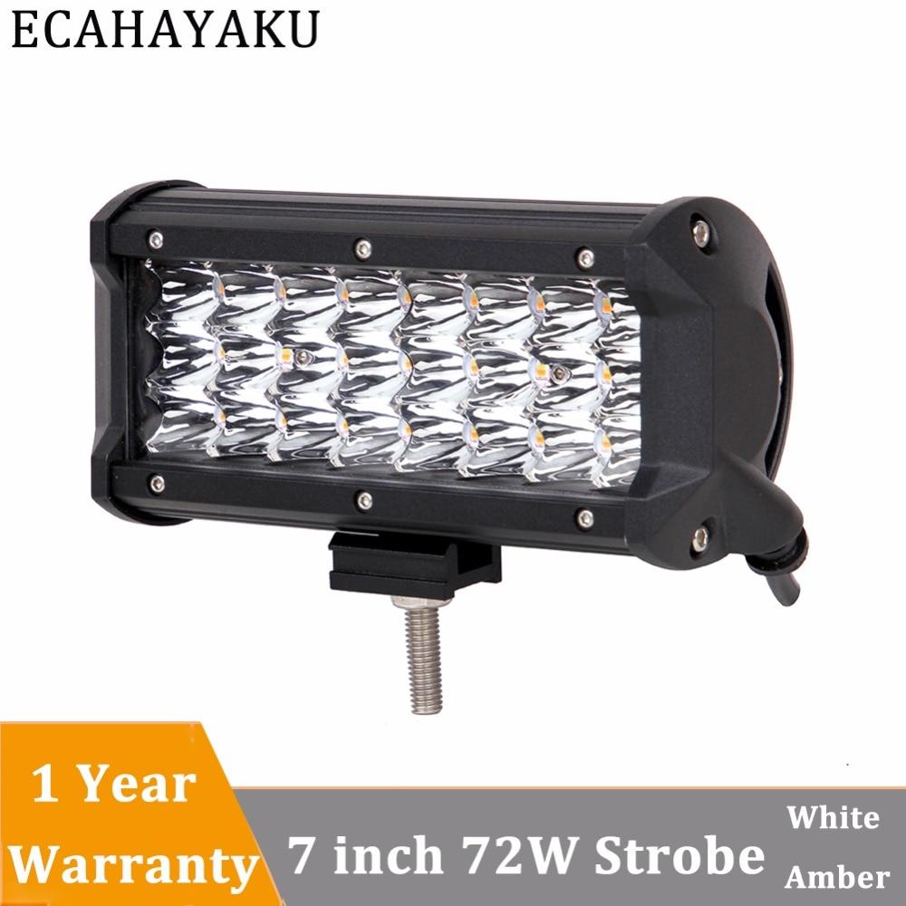 ECAHAYAKU 1 Pcs Triple rows 7inch LED Light Bar 72W Dual Colors Strobe Spot Led Work Light Bar 12V Truck SUV ATV 4WD 4x4 Led Bar