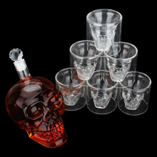 7Pcs/Set Bar Set Creative 700ml High Quality Skull Head Glass Bottles 6Pcs 75ml Wine Whiskey Home Vodka Drinking Cups Gift