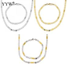 Refine 316L Stainless Steel Necklace Mariner Chain & Bracelet For Men Women Stainless Steel Sets Fashion Jewelry Wedding Gift