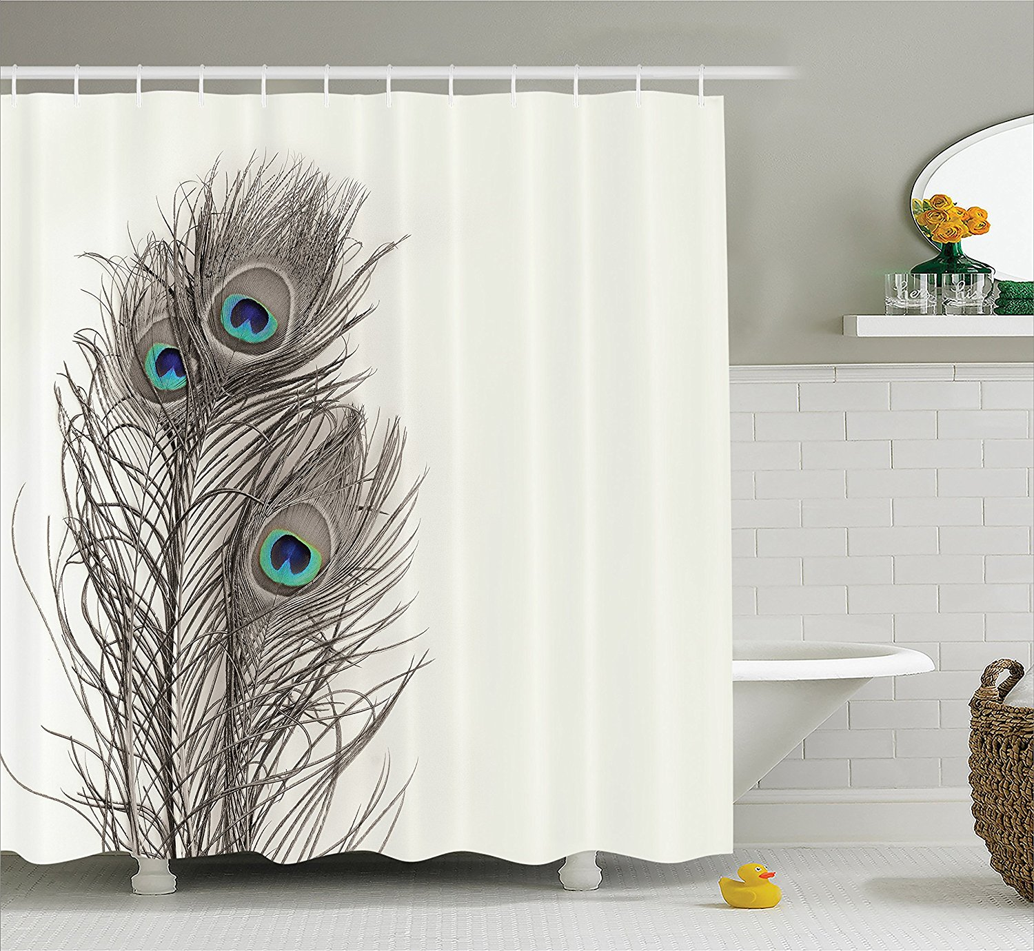 Peacock feather fabric shower curtain quot teal peacock feather quot green - Warm Tour Natural Peacock Tail Feathers With Eyes Home Designers Fabric Shower Curtain White Gray Turquoise