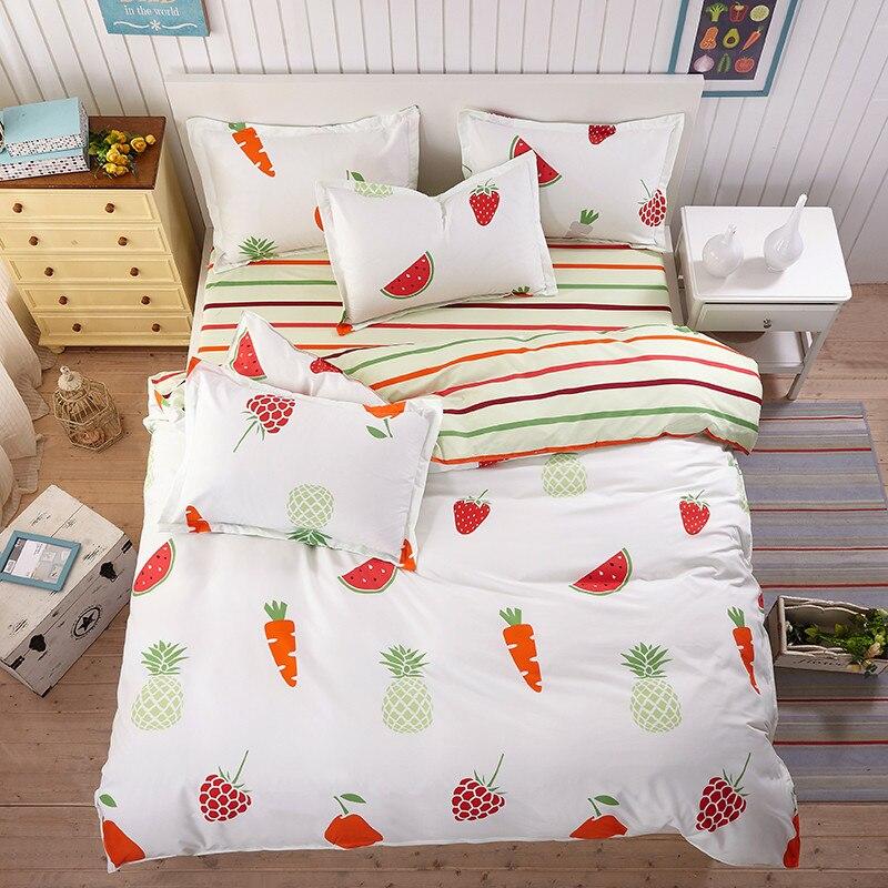 New Fruit Bedding Flat Polyester Bedspread Set Children / Adult home Textiles duvet cover bed sheet pillowcases 3/4 pcs