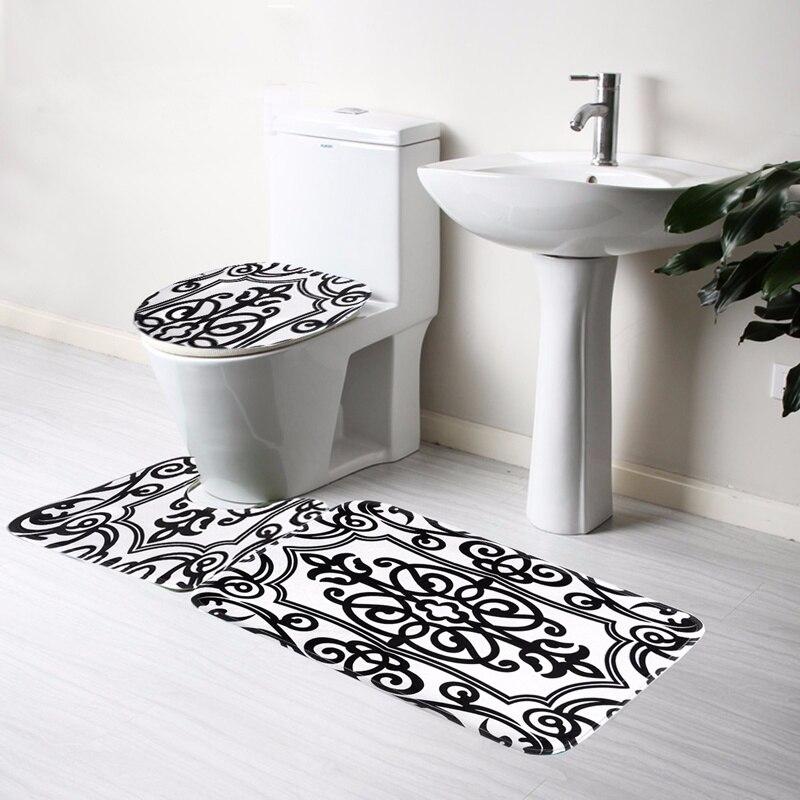 Toilet Mat Seat Cover Bathroom Non slip Contour Rug Set 3Pcs Black