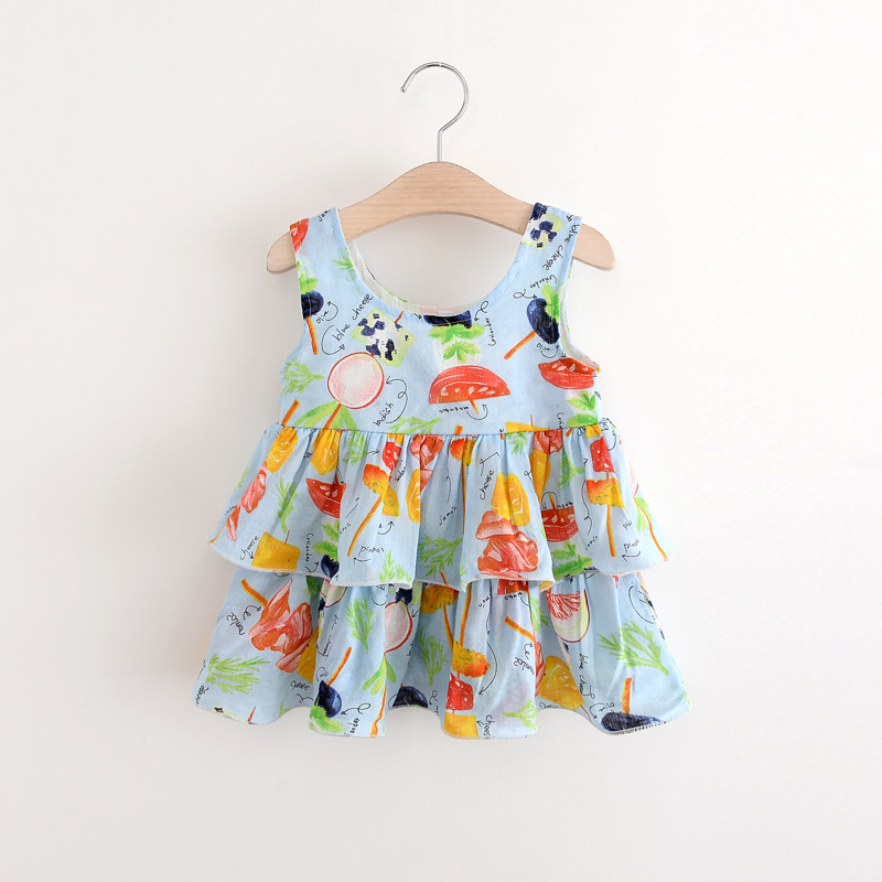 children's girls printed candy printed cake dress Kids sleeveless O-neck  Children Princess Children's clothing  X1345