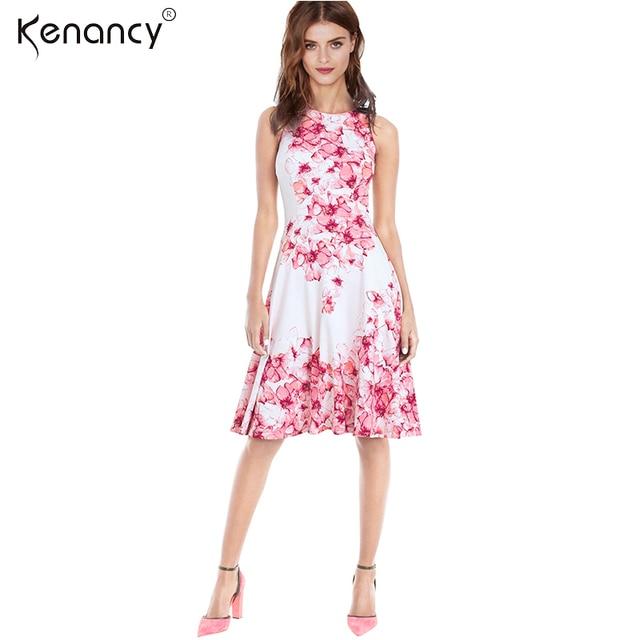 Kenanncy Liquidación 3XL Plus Size Pink Floral Print Vestido de Las ...