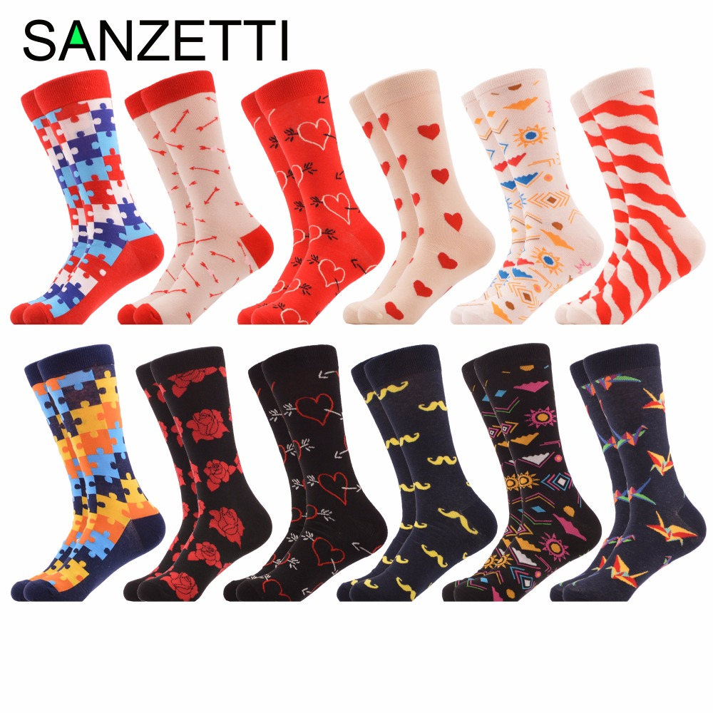 SANZETTI 12 pairs/lot Mens Colorful Combed Cotton Funny Socks Puzzle Rose Love Classic Casual Dress Wedding Socks Novelty Socks