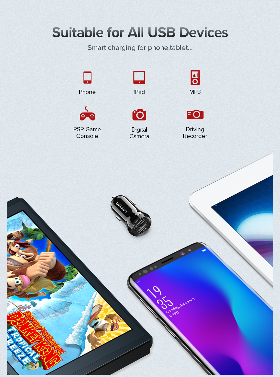 HTB1CtLZXynrK1Rjy1Xcq6yeDVXa9 - Ugreen USB Car Charger for Phone 4.8A Dual USB Fast Charger for iPhone X XS 8 Huawei Phone Mini Car-Charger Adapter USB Charger