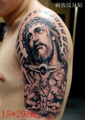 1 Pcs Tatoo Palsu Jesus Pengakuan Tato 3d Stiker Tatuagem Tatoo