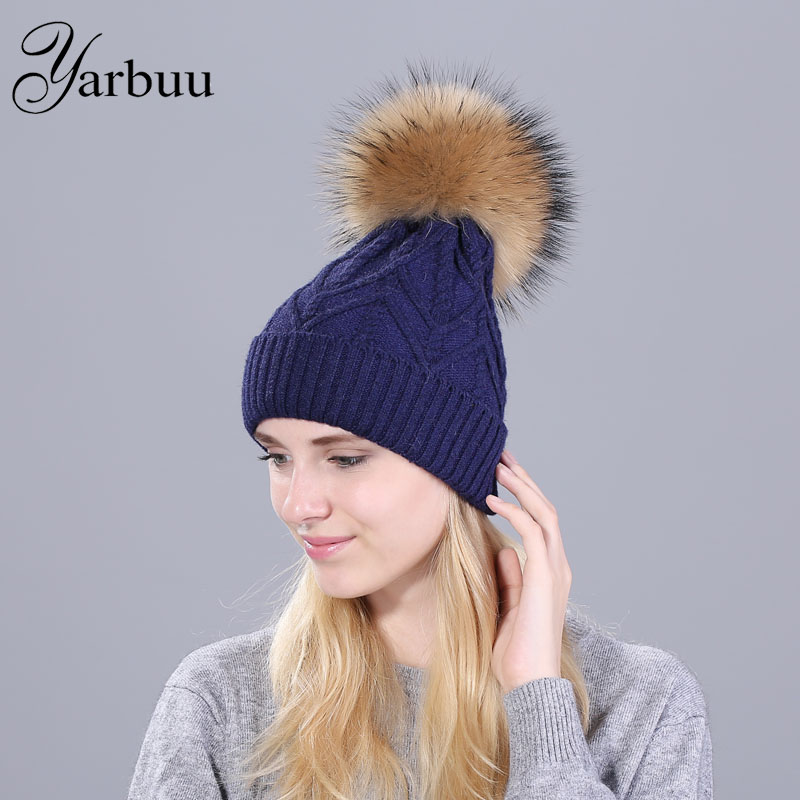 [YARBUU] real mink pom poms wool fur knitted winter hat for women female fashion skullies casual ski caps thick warm solid hats lanxxy real mink fur pompom hat women winter caps knitted wool cotton hats two pom poms skullies beanies bonnet girls female cap