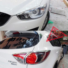 New ABS Chrome Decoration Front Head Light Cover Trim Frame 2pcs And Rear Lapm 2pcs For Mazda CX-5 2015(China)