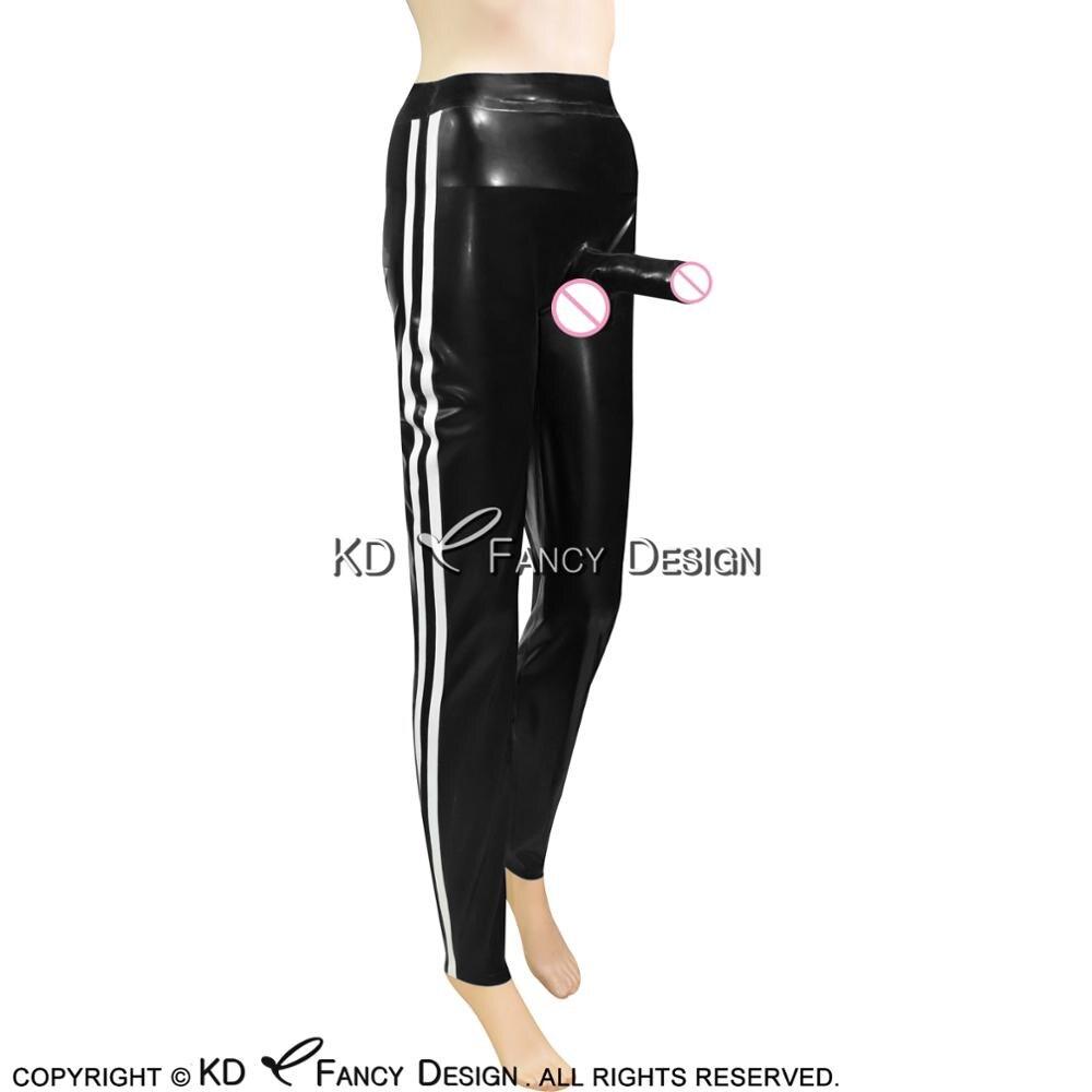 Noir avec blanc Long pantalon en Latex avec gaine de pénis collée et rayures pantalon en caoutchouc pantalon CK-0040