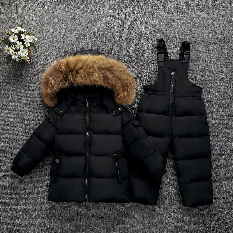 Children Winter Down Jackets For Boys Girls Coats+Pants Overalls Snowsuit Kids Ski Set Toddler Real Fur Parkas Outerwear Coat