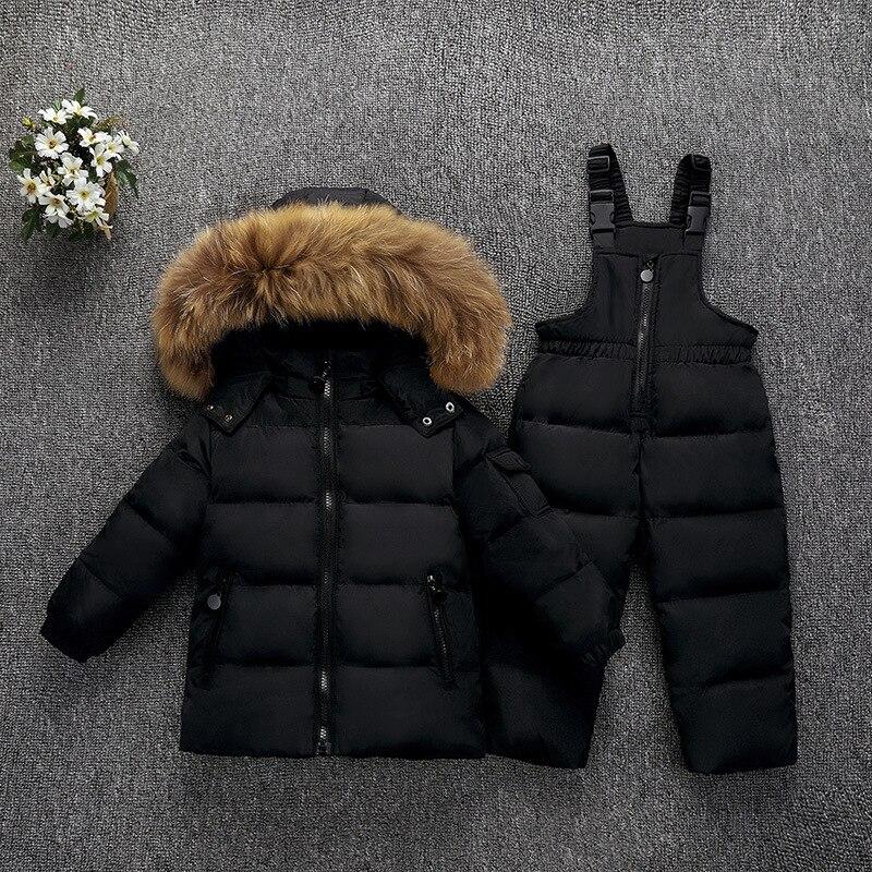 Enfants hiver vestes pour garçons filles manteaux + pantalons salopette Snowsuit enfants Ski Set bambin vraie fourrure vêtements d'extérieur parkas manteau