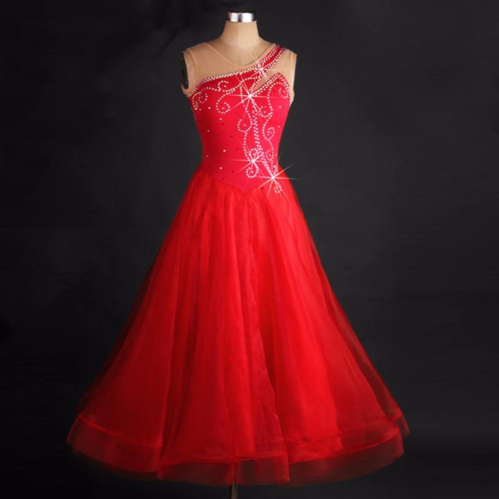 2017 New Women Ballroom Dance Dress Organza Sexy Backless Standard Performance Competition Jazz Waltz Tango Fox-Trot Jigs Suits