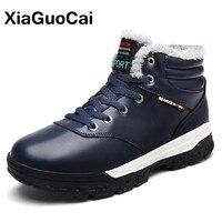 XiaGuoCai Men Shoes Winter Super Warm Men Snow Boots Fur Lace Up Men S Casual Shoes