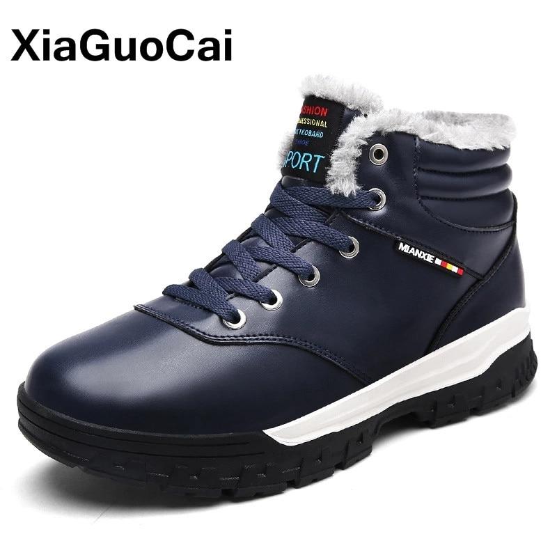 XiaGuoCai Men Shoes Winter Super Warm Men Snow Boots Fur Lace Up Men's Casual Shoes Big Size High Quality PU Leather Ankle Boots xiaguocai new arrival real leather casual shoes men boots with fur warm men winter shoes fashion lace up flats ankle boots h599