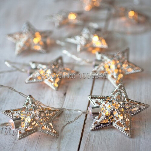 3.3M Battery Powerd Christmas Lights LED Fairy Lights 20 Metal Star String Light For Festival Halloween Party Wedding Decoration