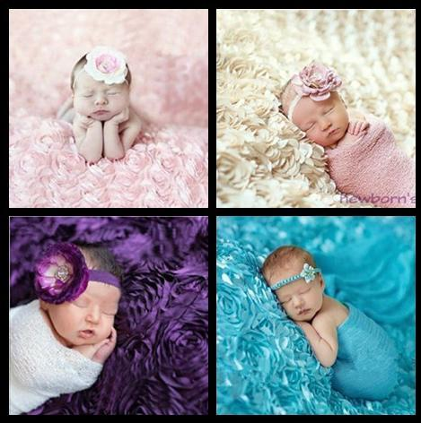 2015 Baby 3d Rose Fabric Background Blanket Photography Props Wedding Backdrop Infant Photo Accessories 0-3 Months Free Shipping