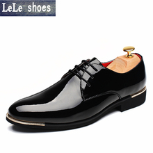 2016 Luxury Big Size Men Dress Shoes Soft Patent Leather Pointed Toe Office Business Wedding Oxford Shoes For Men Flat Loafers