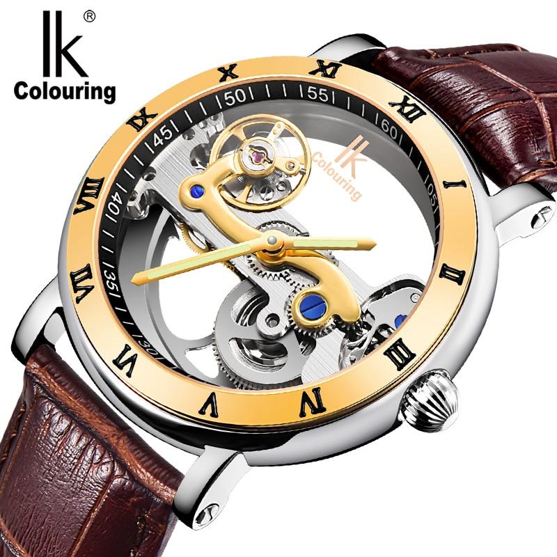 IK Colouring Luxury Men Watch Stainless Steel Case Male Clock Auto Mechanical Wristwatch 5ATM Waterproof Relogio Masculino