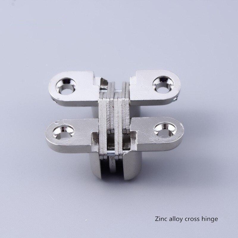 Free shipping Zinc alloy cross cross hinge hinge folding door Invisible hinge door hinge hidden gold silver