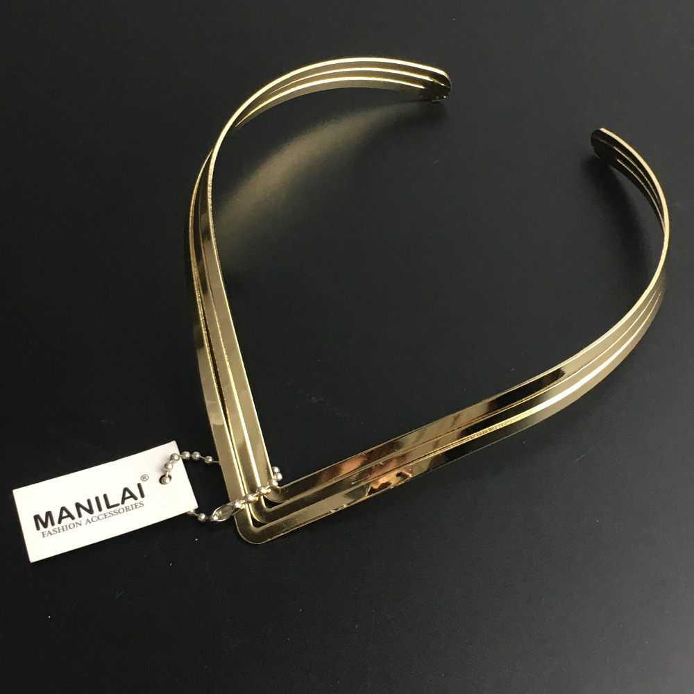 MANILAI North Africa Torques Collar Chokers Fashion 3 Layer Bright Metal Weld Bib Women Necklaces Statement Jewelry CE2524
