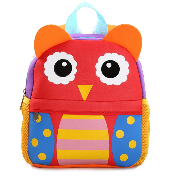 Children 3D Cute Animal Giraffe Monkey Owl Design Backpacks Toddler Kids Neoprene School Bags Kindergarten Cartoon Backpack Bag nohoo toddler kids backpack 3d rocket space cartoon pre school bags children school backpacks kindergarten kids bags mochila