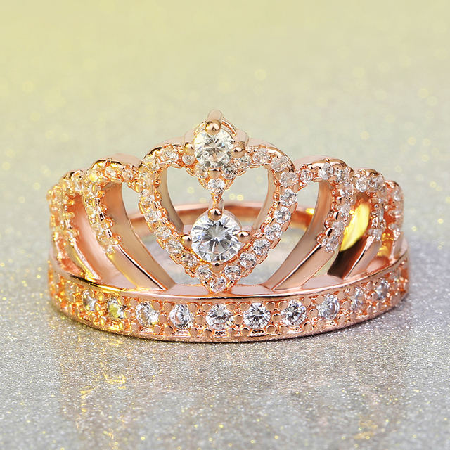 2017 New Luxury Female Crown ring AAAAA Zircon Cz 925 rose gold color Engagement