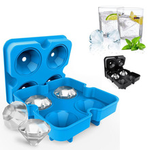 Memokey NEW 4 Cavity Diamond Shape 3D Ice Cube Mold Maker Bar Party Silicone Trays Chocolate Kitchen Tool, A Great Gift C30