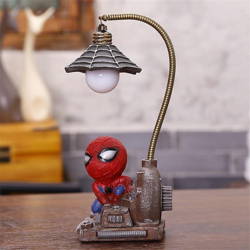 Cartoon Avengers Action Figures Spider Man Night Lamp Resin Children Bedroom LED Night Light for Boy Kids Xmas Creative Gift (11)