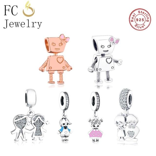5ab098732 Authentic 100% 925 Sterling Silver Cute Robot Charm Heart Beads Fit  Original Pandora Charm Bracelet