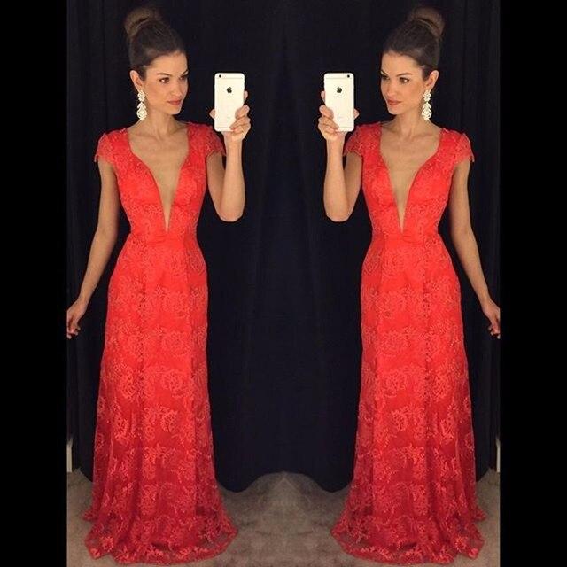 Vestido fiesta encaje rojo